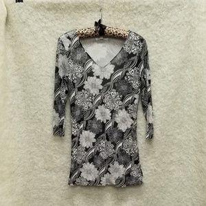 CAbi Black & Whit Floral Blouse